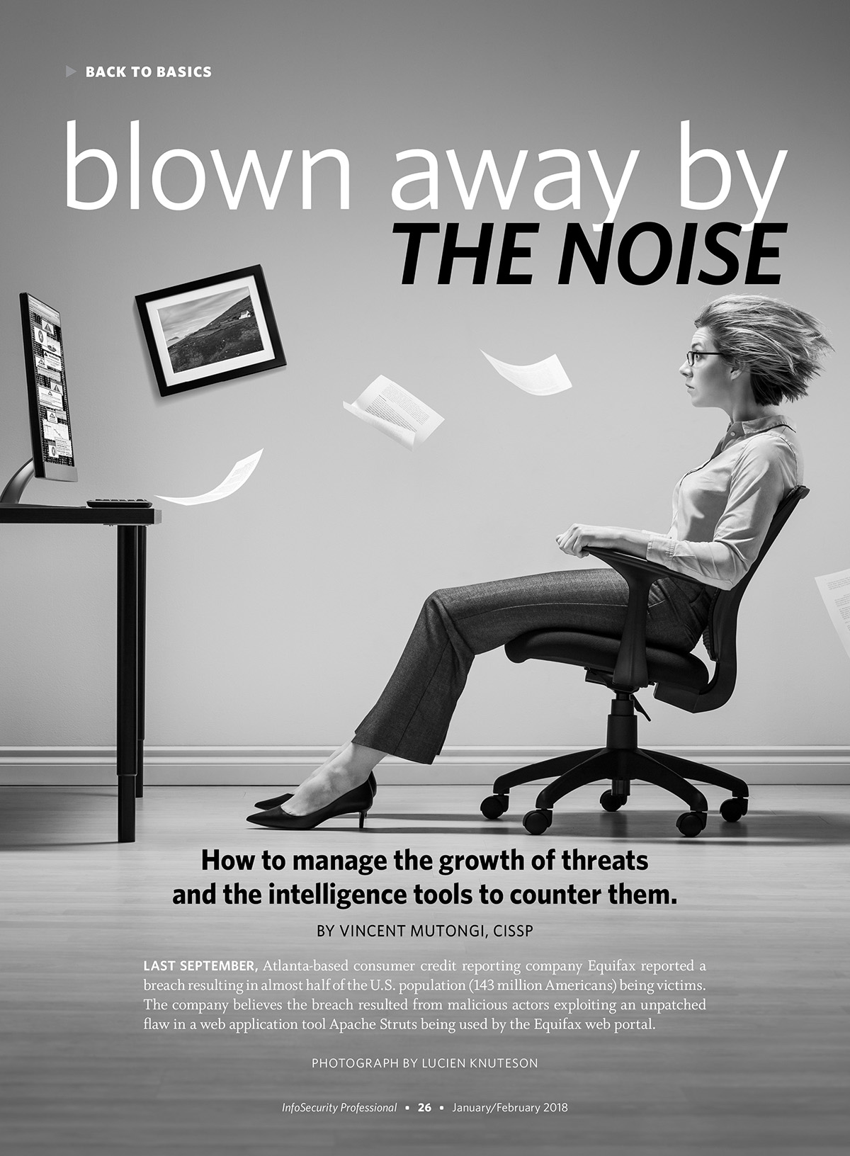 Winning magazine design of woman at a computer