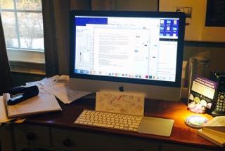 Maureen's desk at Twirling Tiger's headquarters