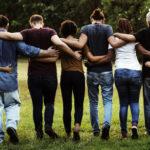 group of friends huddled together