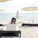 blogger on the beach