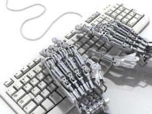 robot working at keyboard